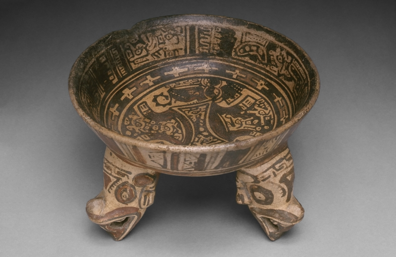 Tripod Bowl with Painted Designs and Animal-head Supports