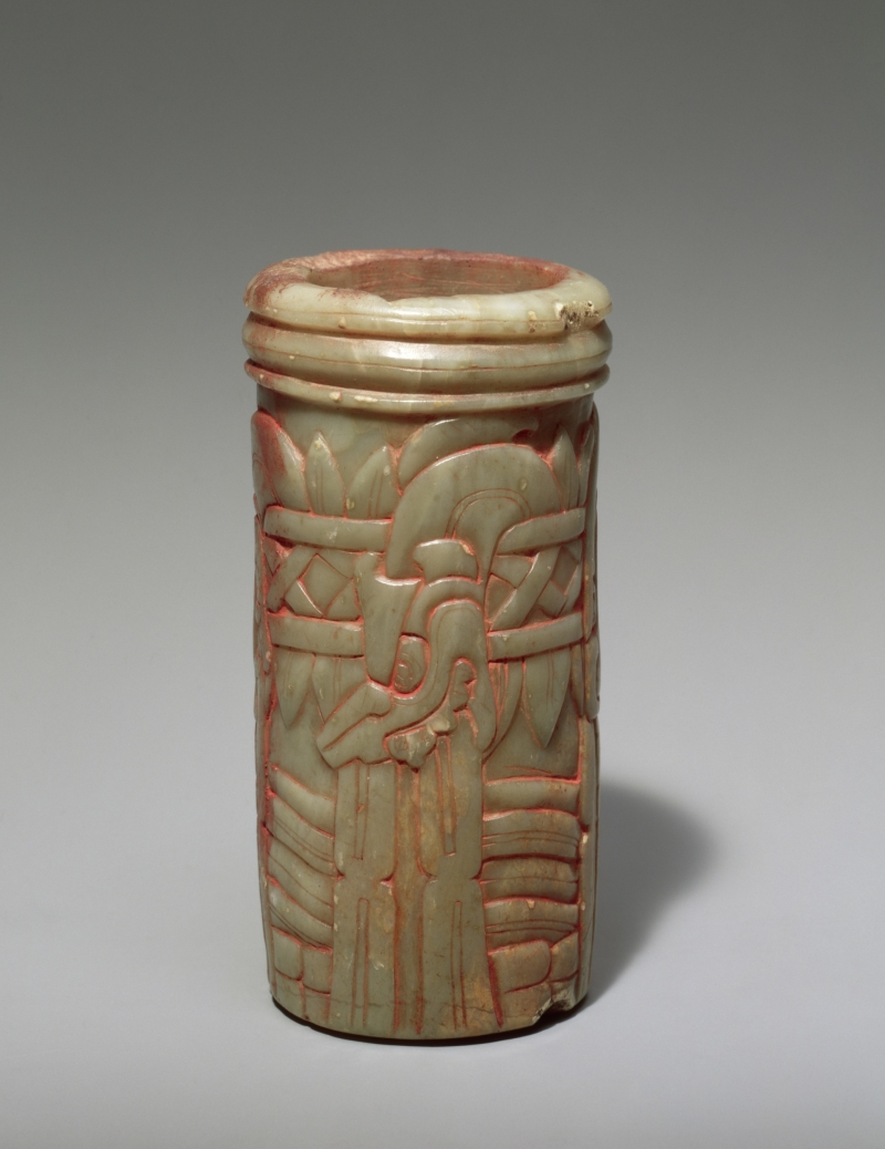 Carved Stone Vessel with Carved Serpents and Fish
