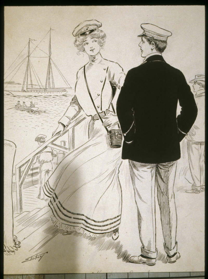 Untitled Drawing of a Man and Woman in a Boat