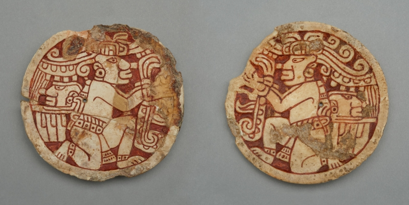 Shell Earspool Frontals Depicting Kneeling Figures