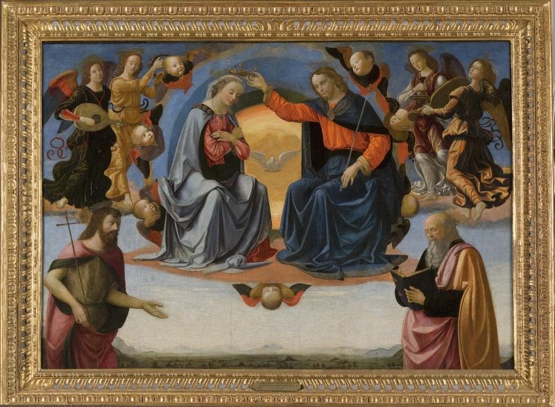 The Coronation of the Virgin with Saint John the Baptist and Saint John the Evangelist