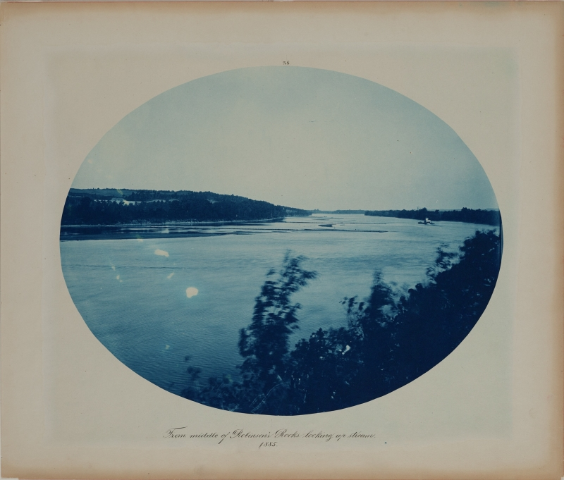 From Middle of Robinson's Rocks Looking Upstream from the album Views on the Mississippi River between Minneapolis, Minn and St. Louis, Mo., 1883-1891