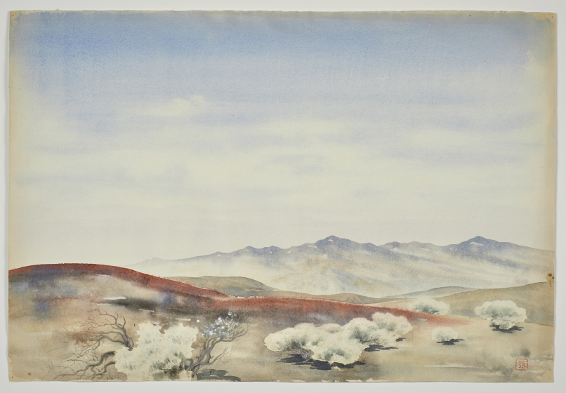 Untitled (A Copper-red Streak in Front of Distant Hazy Mountains)