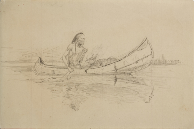 Untitled (Indian in canoe)