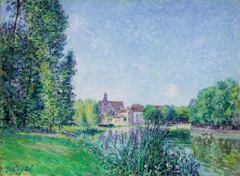 The Loing River and the Church at Moret-sur-Loing (Le Loing et L'église de Moret-sur-Loing)