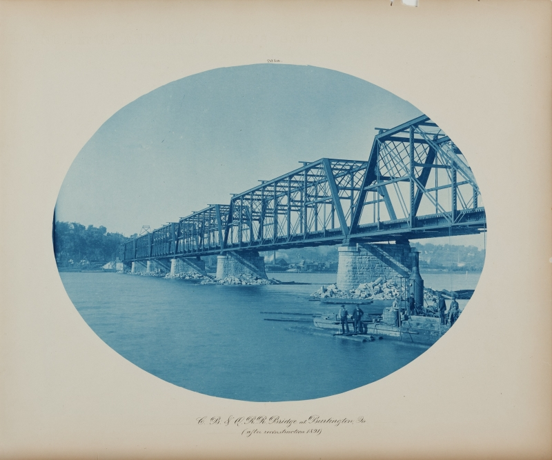 C. B. & Q. R. R. Bridge at Burlington, Ia. (after reconstruction 1891) from the album Views on the Mississippi River between Minneapolis, Minn and St. Louis, Mo., 1883-1891
