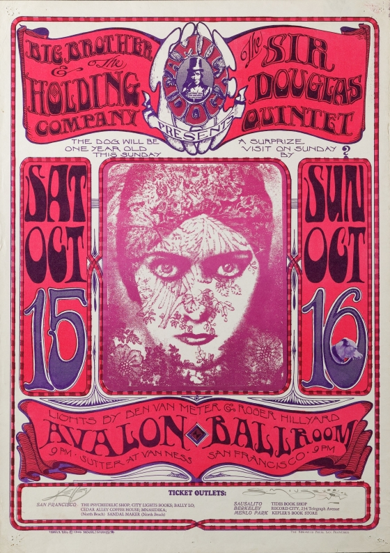 One Year Anniversary; Big Brother and the Holding Company, Sir Douglas Quintet; Avalon Ballroom