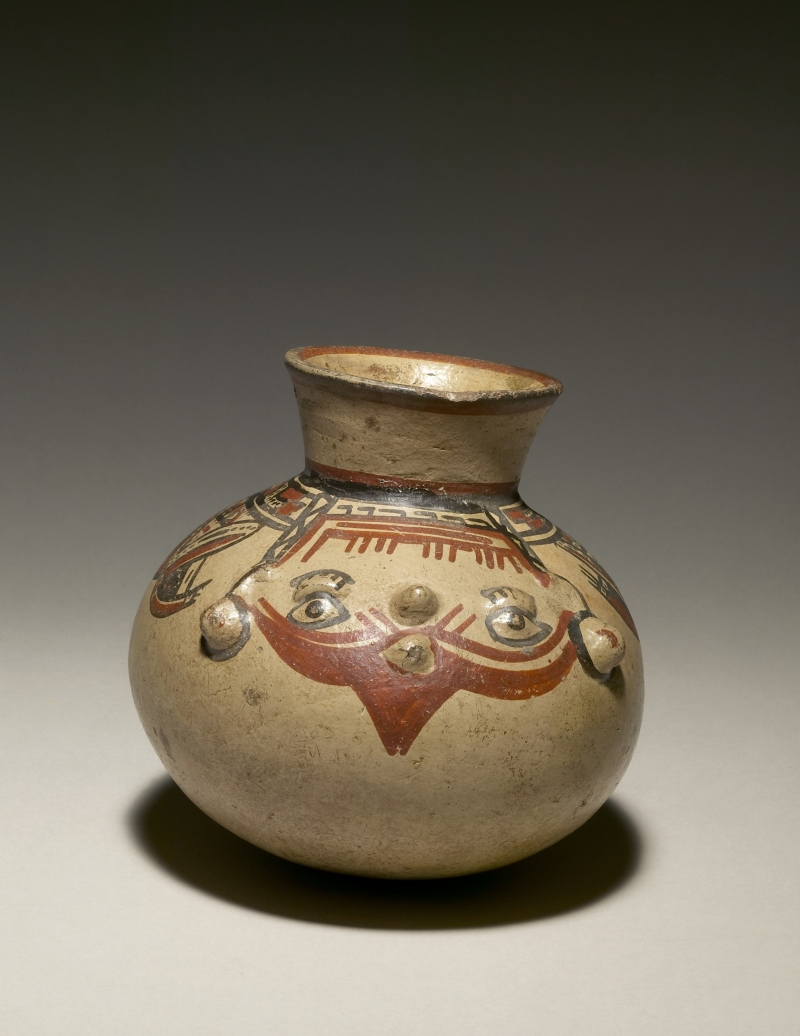 Jar with Modeled and Painted Faces