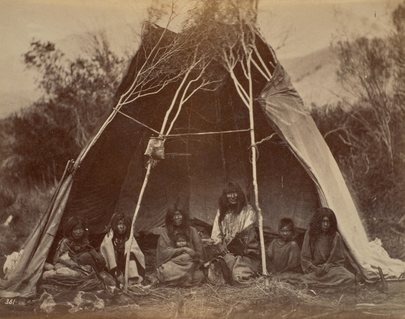 Family Group of Seven inside Tipi, Medicine Lodge Creek, Idaho