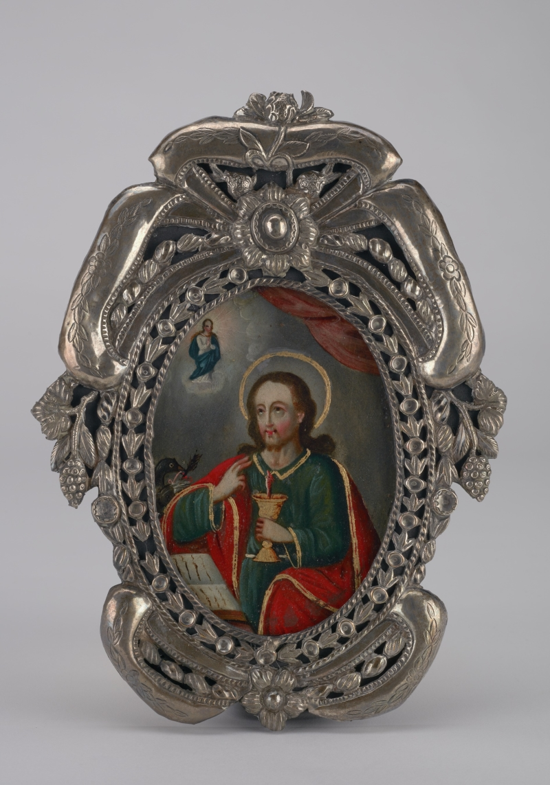 Miniature Painting of Saint John the Evangelist with Silver Frame