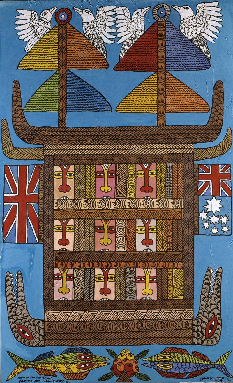 This is the Ship Belonging to Captain Cook When He Came to Australia (Dispela Em Sip Bilong Kiapten Kuk ikam Austrelia)