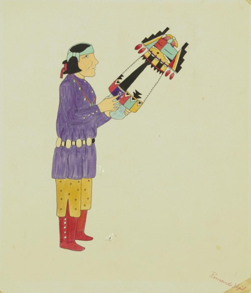 Man Carrying Kachina Doll