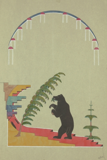 Bear by Pine Trees