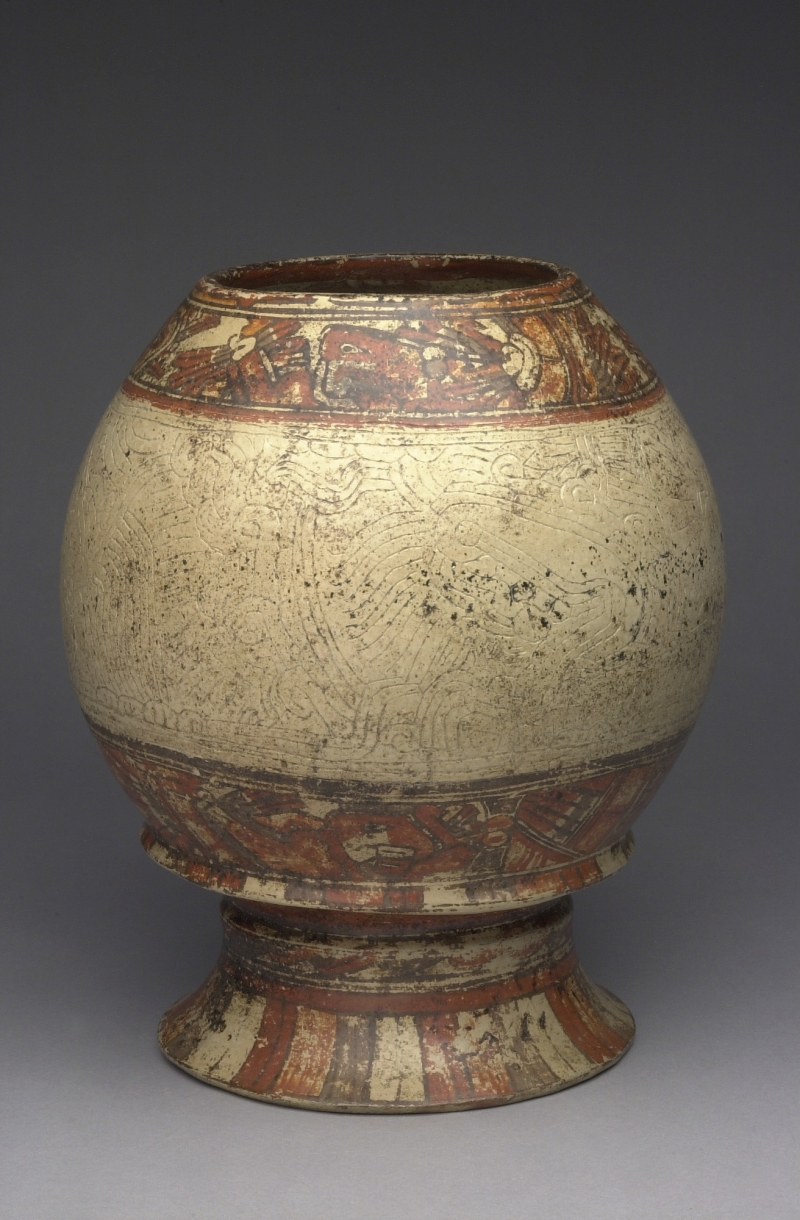 Pedestal Jar with Painted and Incised Decoration