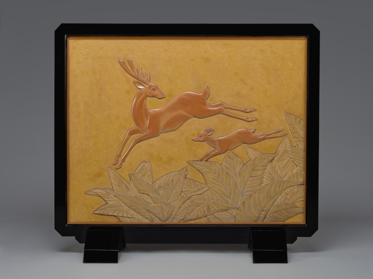 Standing Screen (Tsuitate) with Stag and Fawn