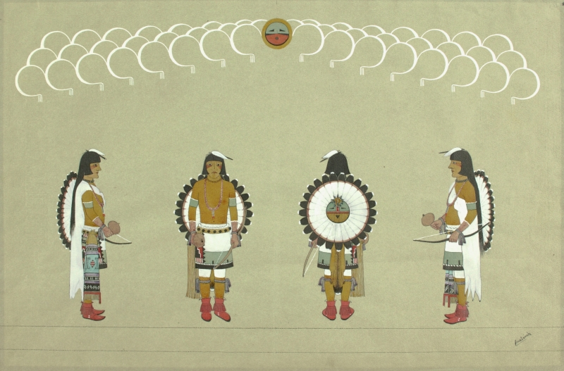 Four Men with Sun Shields