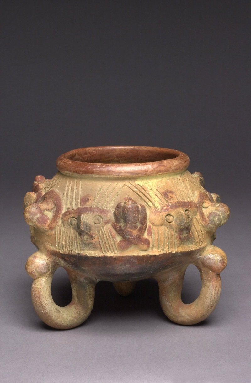 Tripod Jar with Applique Faces and Animals