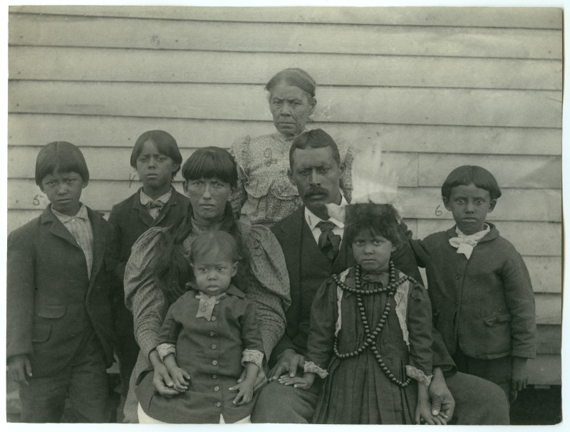 Family of George Mayor Cook, Group of Eight, Near Wood Frame Building