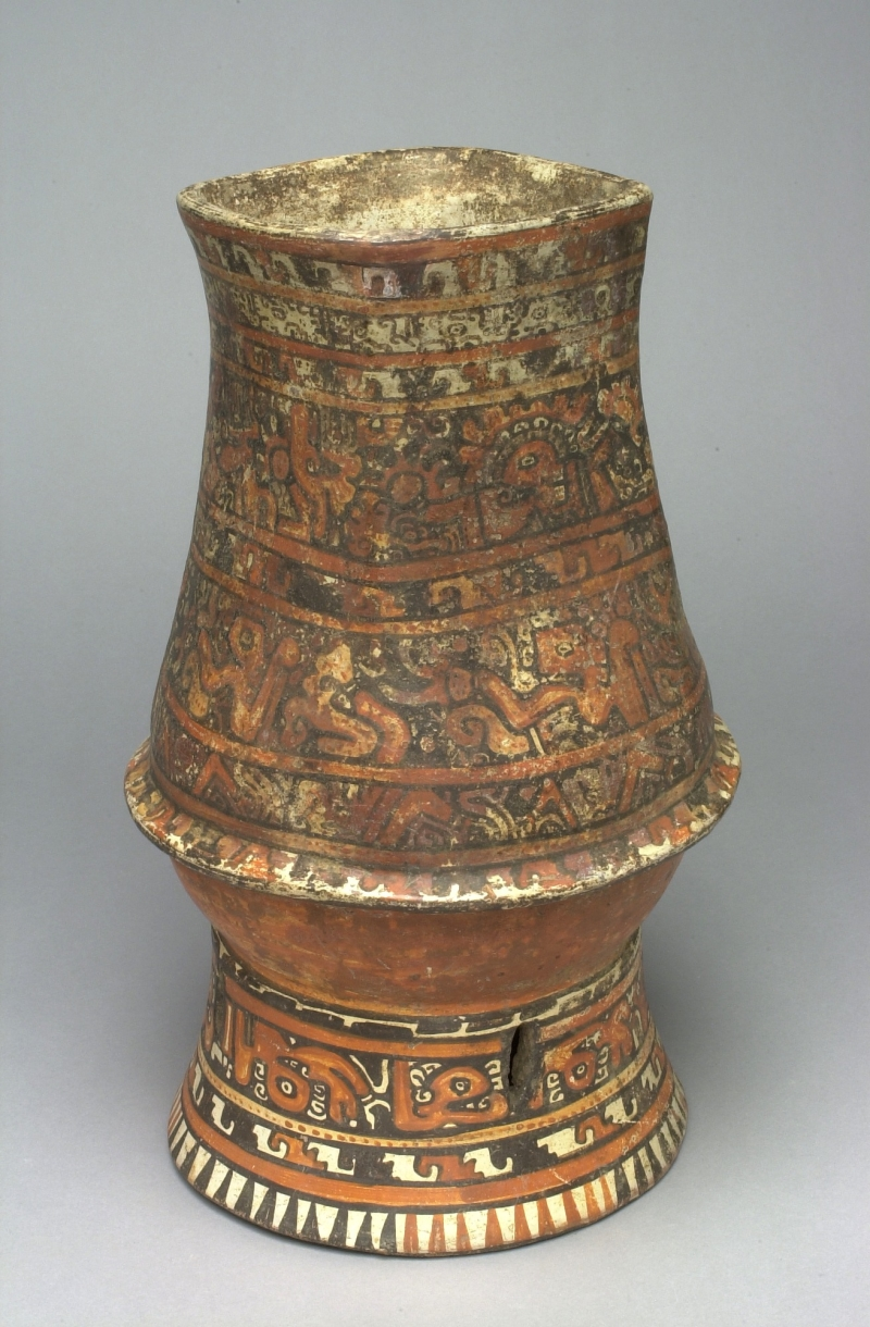Pedestal Jar with Stylized Painted Imagery