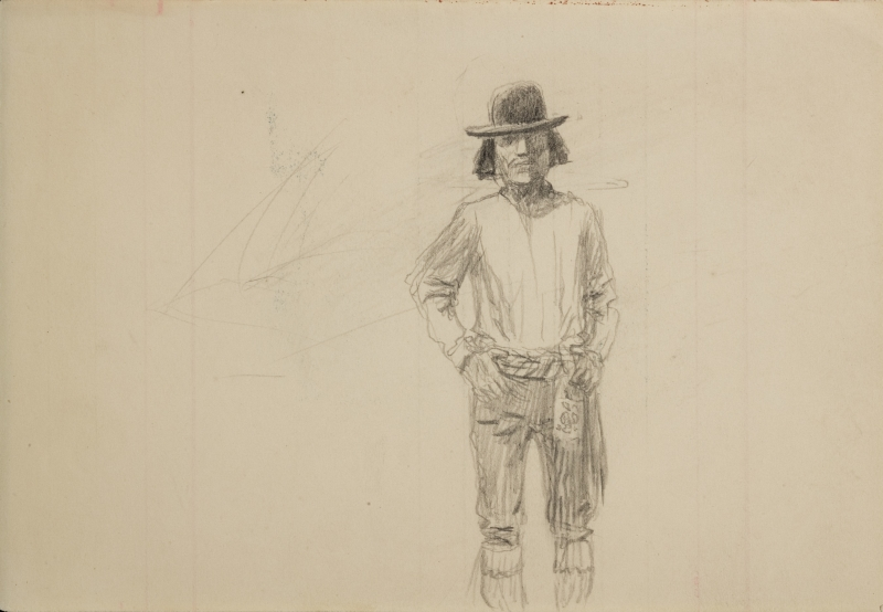 Untitled (Man with dark hair and hat)