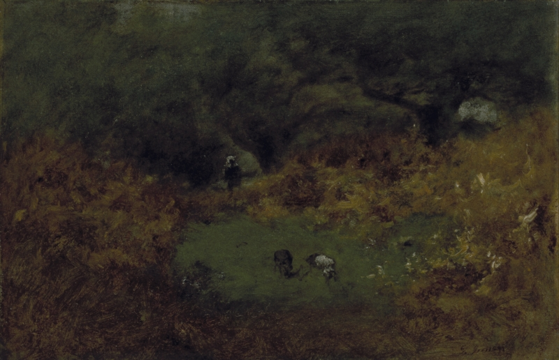 Wooded Interior With Figure and Cattle