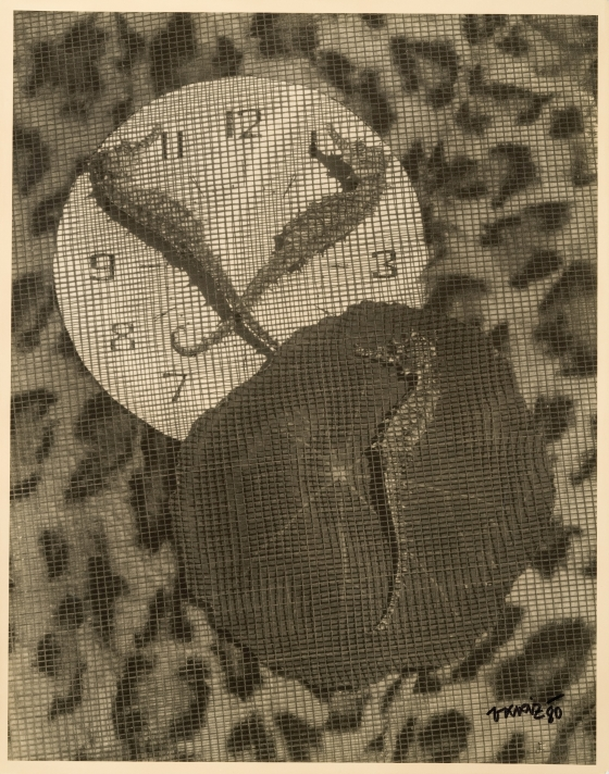 Untitled (Seahorses, clock and screen)
