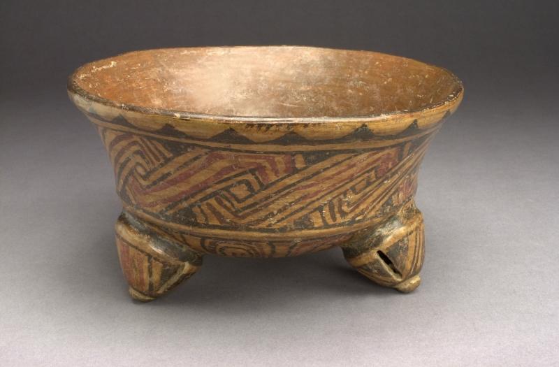 Tripod Bowl with Linear Painted Designs