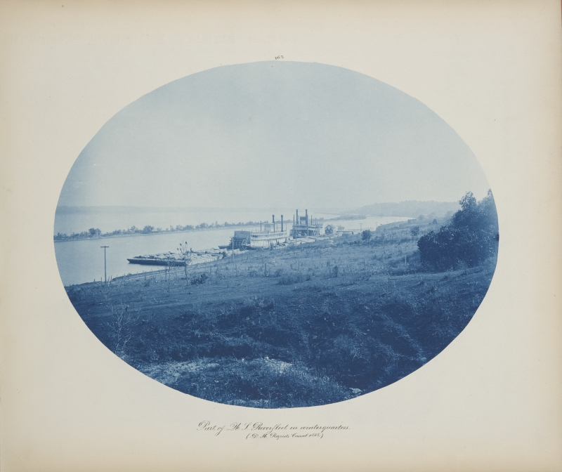 Part of No. 1 Riverfleet in Winter Quarters (Des Moines Rapids Canal) from the album Views on the Mississippi River between Minneapolis, Minn and St. Louis, Mo., 1883-1891