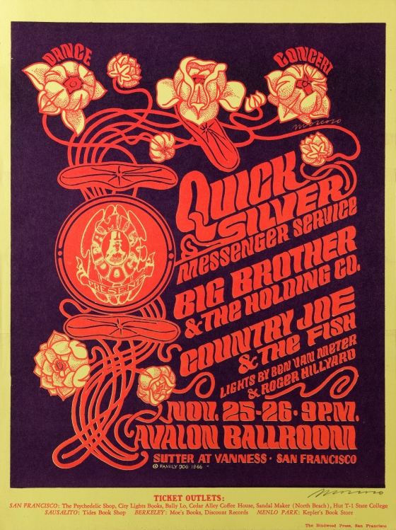 Sunflowers; Quicksilver Messenger Service, Big Brother and the Holding Company, Country Joe and the Fish; Avalon Ballroom