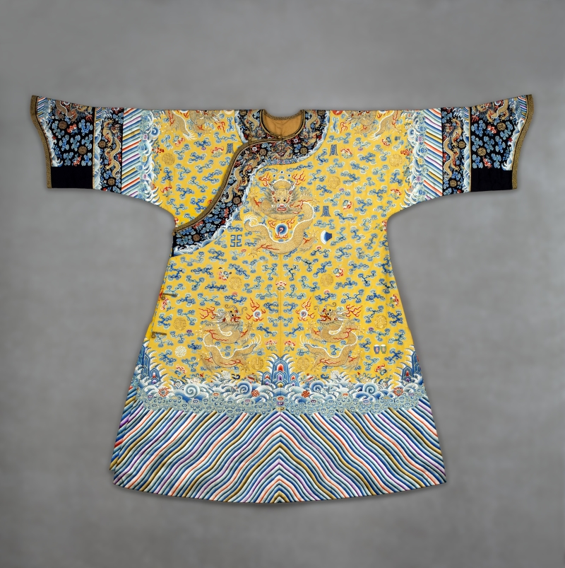 Imperial Manchu Woman's Semiformal Court Robe with Twelve Symbols of Sovereignty