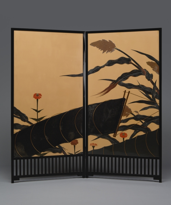 Folding Screen (byobu) with Autumn Scene