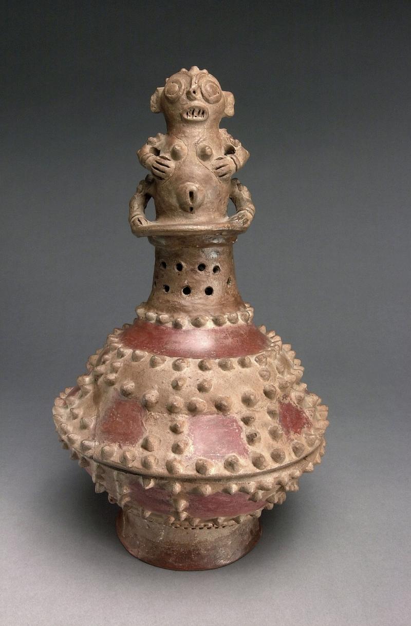 Lidded Incense Burner with Female Figure