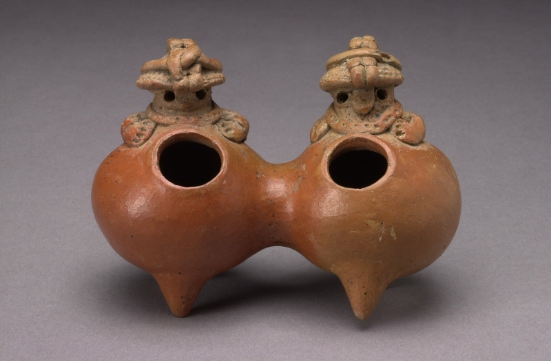Conjoined Double Jar with Modeled Figures