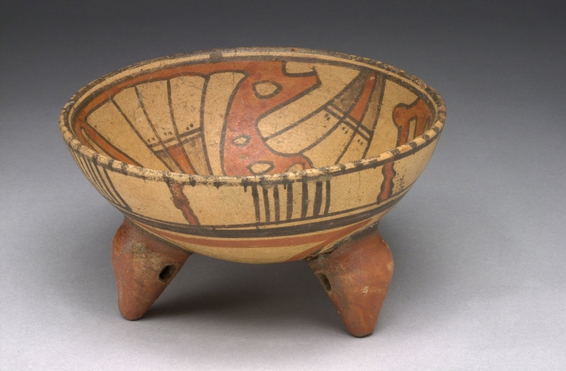 Tripod Bowl with Feather Imagery