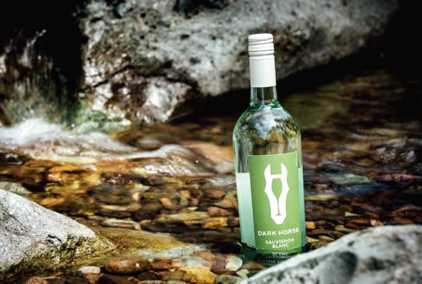 Dark Horse Sauvignon Blanc chilling in a stream