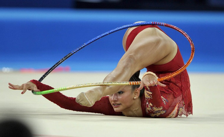 Maria Kitkarska of Canada competes in the Individual All-Round Final of the Rhythmic Gymnastics event at The Hydro venue at the 2014 Commonwealth Games in Glasgow July 25, 2014. (Andy Buchanan/Getty Images)