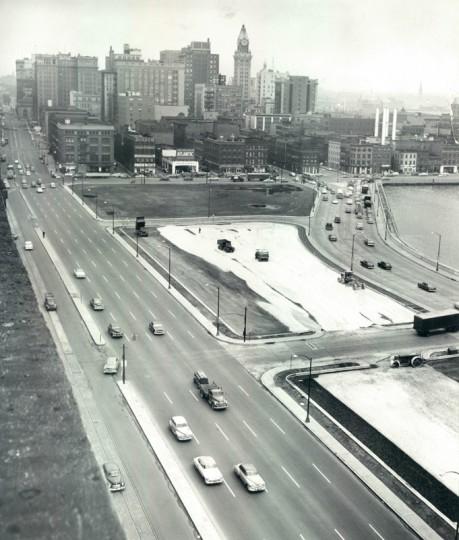 The harbor, pre-Promenade. (Baltimore Sun file dated Nov. 1954)