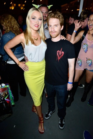 Actors Clare Grant and Seth Green attend Hitfix and Lucasfilm's Comic-Con Kick off party during Comic-Con International 2014 at Hotel Solamar on July 23, 2014 in San Diego, California. (Jerod Harris/Getty Images)