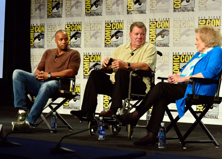 Actors Donald Faison, William Shatner, and Betty White speak onstage at TV Land's Legends Of TV Land Panel during the 2014 Comic Con International Convention at Hilton Bayfront on July 24, 2014 in San Diego, California. (Jerod Harris/Getty Images for TV Land)