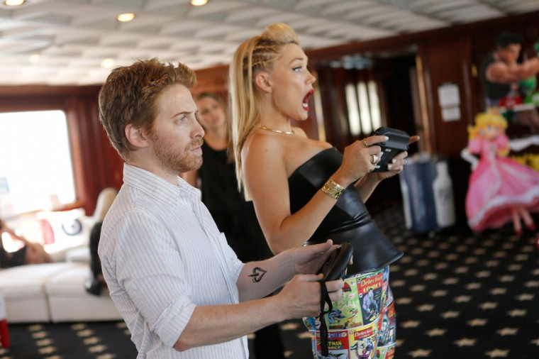 Actors Seth Green (L) and Clare Grant attend the Nintendo Lounge on the TV Guide Magazine Yacht during Comic-Con International 2014 #TVGMYacht on July 24, 2014 in San Diego, California. (Mike Windle/Getty Images)