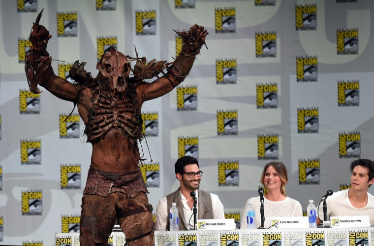 """(L-R) Actor John Duff, Tyler Hoechlin, Shelley Hennig and Dylan O'Brien attend MTV's """"Teen Wolf"""" panel during Comic-Con International 2014 at the San Diego Convention Center on July 24, 2014 in San Diego, California. (Photo by Ethan Miller/Getty Images)"""