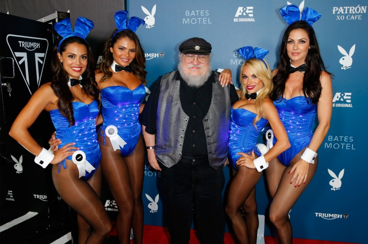 2013 Playmate of the Year Raquel Pomplun, Miss September 2012 Alana Campos, novelist George R.R. Martin, Miss May 2014 Dani Mathers and Miss August 2000 Summer Altice attend the Playboy and A&E ?Bates Motel? Event During Comic-Con Weekend, on July 25, 2014 in San Diego, California. (Photo by Joe Scarnici/Getty Images for Playboy)