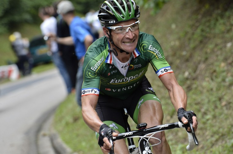 France's Thomas Voeckler rides in the pack during the 234.5 km seventh stage of the 101st edition of the Tour de France cycling race on July 11, 2014 between Epernay and Nancy, northeastern France. (Jeff Pachoud/Getty Images)