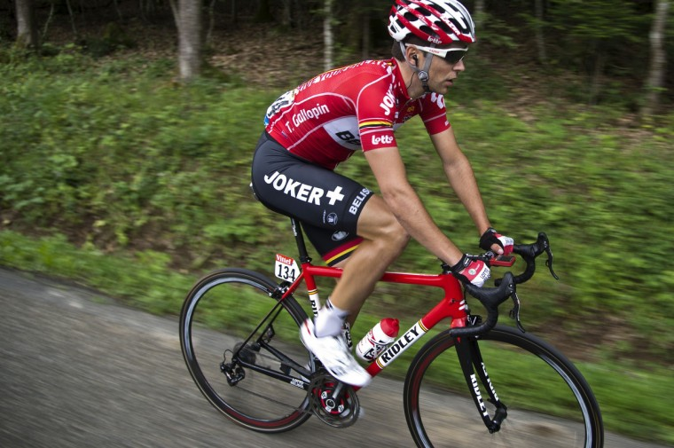 France's Tony Gallopin rides in a breakaway during the 170 km ninth stage of the 101st edition of the Tour de France cycling race on July 13, 2014 between Gerardmer and Mulhouse, eastern France. (Lionel Bonaventure/Getty Images)
