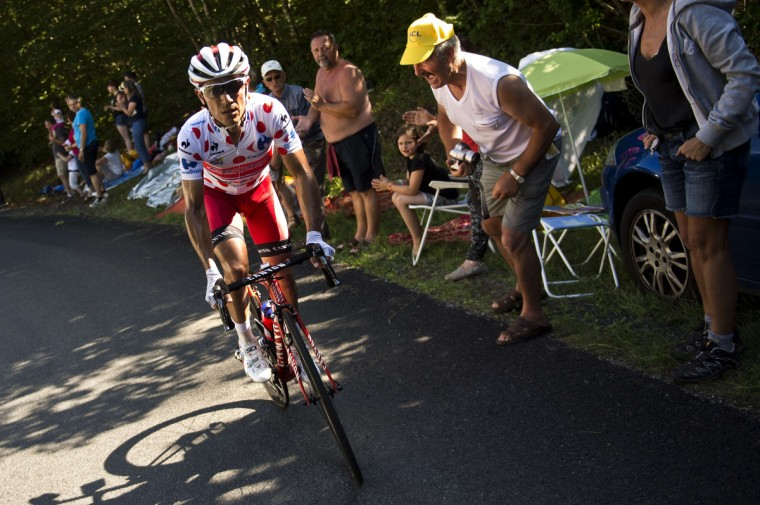 Spain's Joaquim Rodriguez rides in a breakaway during the 187.5 km eleventh stage of the 101st edition of the Tour de France cycling race on July 16, 2014 between Besancon and Oyonnax, eastern France. (Lionel Bonaventure/Getty Images)