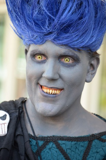 An attendee dressed as the Disney villain Hades the first day of the 45th annual San Diego Comic-Con, in San Diego California July 24, 2014. The four-day pop culture extravaganza celebrates film, TV, video games, comic books, costumes and other popular arts. More than 150,000 fans are expected to attend the sold-out event. (Robyn Beck/Getty Images)