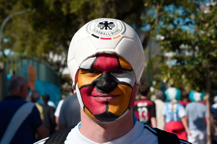 A Germany fan arrives prior to the 2014 FIFA World Cup final football match between Germany and Argentina at the Maracana Stadium in Rio de Janeiro, Brazil on July 13, 2014. (Damien Meyer/AFP/Getty Images)