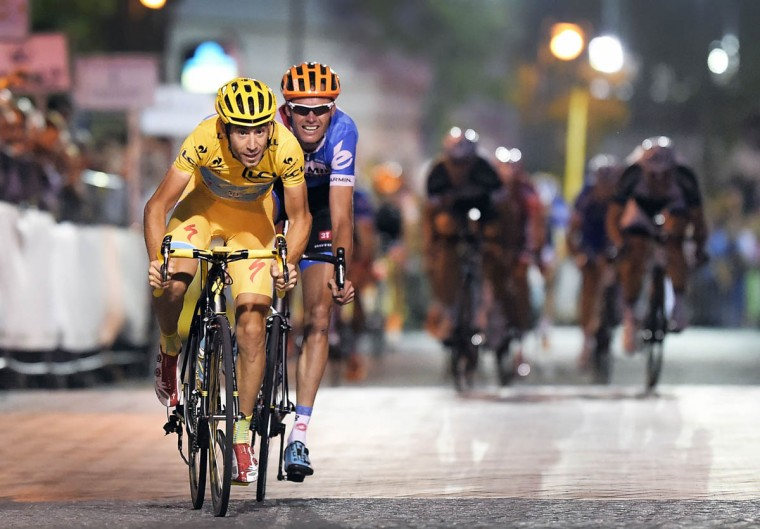 Italian Vincenzo Nibali of Astana Pro Team competes to win the 9th edition of the 'Profronde van Lommel' cycling race, on July 30, 2014 in Lommel. The contest is a part of the traditional 'criteriums', local races which mainly feature cyclists who rode the Tour de France. Greg Van Avermaet won the race. (Yorick Jansens/Getty Images)