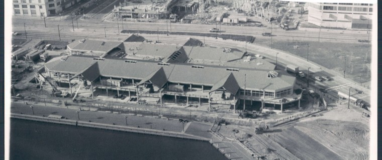 Harborplace twin pavilions about half complete, dated Jan 1980. (Baltimore Sun file photo)