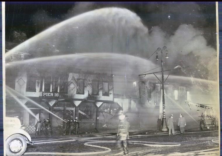 Historic Pier 16, center of a 6-alarm fire.